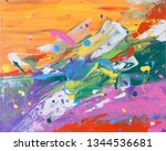 abstract acrylic painting. | Shutterstock . vector #1344536681