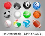 sport balls of different spors | Shutterstock .eps vector #1344571331