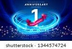 1 years anniversary logo... | Shutterstock .eps vector #1344574724