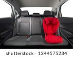 kid car seat in car. red... | Shutterstock . vector #1344575234
