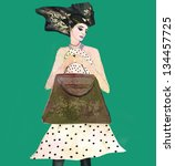 fashion woman. hand painted... | Shutterstock . vector #134457725