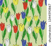 seamless floral pattern. bright ...   Shutterstock .eps vector #1344593867