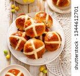 hot cross buns  freshly baked... | Shutterstock . vector #1344612701