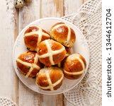 hot cross buns  freshly baked... | Shutterstock . vector #1344612704
