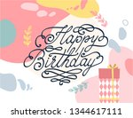 happy birthday card with... | Shutterstock .eps vector #1344617111