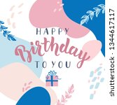 happy birthday greeting card.... | Shutterstock .eps vector #1344617117