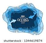 paper art of world oceans day.... | Shutterstock . vector #1344619874