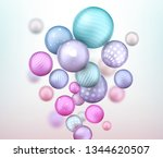 3d multicolored decorative... | Shutterstock . vector #1344620507