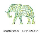 elephant shape made from tree... | Shutterstock .eps vector #1344628514