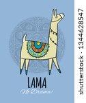 cute lama character. greeting... | Shutterstock .eps vector #1344628547