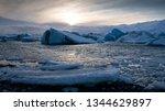 sundown in the glacier lagoon... | Shutterstock . vector #1344629897