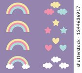 flying clouds and rainbows... | Shutterstock .eps vector #1344636917