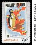 australia   circa 2014  a stamp ... | Shutterstock . vector #1344651221