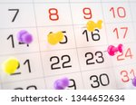 pins on calendar on  date of... | Shutterstock . vector #1344652634