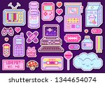 pixel art 8 bit objects. pink...   Shutterstock .eps vector #1344654074