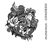paisley background. hand drawn... | Shutterstock .eps vector #1344658304