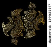 paisley background. hand drawn... | Shutterstock .eps vector #1344659597