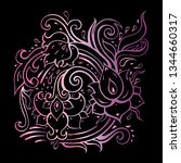 paisley background. hand drawn... | Shutterstock .eps vector #1344660317