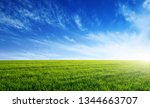 green field  blue sky and sun.    Shutterstock . vector #1344663707