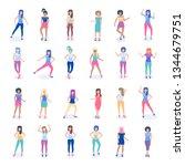 dancing young girl  | Shutterstock .eps vector #1344679751
