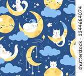 Stock vector seamless vector pattern cute white cat sleeping on a moon starry night sky 1344684074