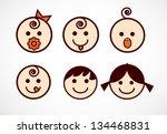 vector image of smiling flowers ... | Shutterstock .eps vector #134468831