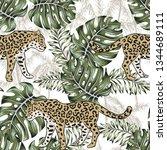 leopard  monstera leaves  palm... | Shutterstock .eps vector #1344689111
