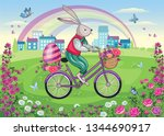 Easter Bunny On A Bicycle....