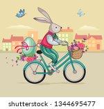 easter rabbit or bunny on... | Shutterstock .eps vector #1344695477