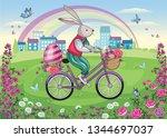easter rabbit or bunny on... | Shutterstock .eps vector #1344697037