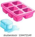 illustration of a pink ice tray ...