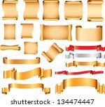 scrolls and flags vector set | Shutterstock .eps vector #134474447