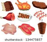 meat photo realistic vector set | Shutterstock .eps vector #134475857