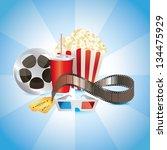 cinematograph  film  popcorn ... | Shutterstock .eps vector #134475929