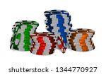 colorful casino chips. plastic... | Shutterstock .eps vector #1344770927