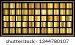 set of gold  gradient. golden... | Shutterstock .eps vector #1344780107