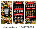 sushi and rolls menu  japanese... | Shutterstock .eps vector #1344788624