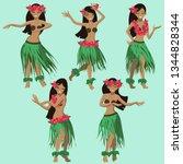 hawaiian girls dancing hula... | Shutterstock .eps vector #1344828344