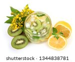 cold drink with ice and fruit | Shutterstock . vector #1344838781