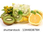 cold drink with ice and fruit | Shutterstock . vector #1344838784