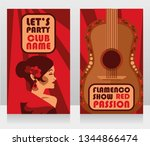 two banners for flamenco show ... | Shutterstock .eps vector #1344866474