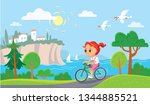 girl riding a bicycle. summer... | Shutterstock .eps vector #1344885521