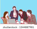 meeting at office    vector... | Shutterstock .eps vector #1344887981