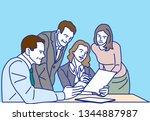 meeting at office    vector... | Shutterstock .eps vector #1344887987