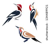 Stylized Woodpeckers   Red...