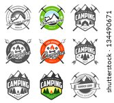 set of vintage camping labels... | Shutterstock .eps vector #134490671