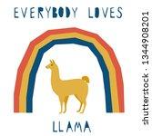 abstract cute paper cut llama... | Shutterstock .eps vector #1344908201