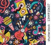 rock n roll doodle vector... | Shutterstock .eps vector #1344910637