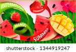 watermelon  strawberry. juicy... | Shutterstock .eps vector #1344919247