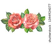 two red roses with leaves... | Shutterstock . vector #1344924077